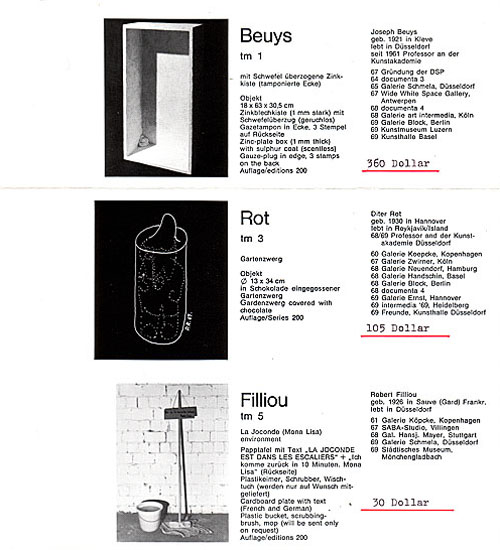 Staeck-Multiples: Beuys + Rot + Filliou