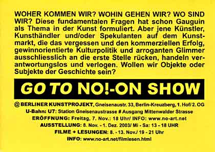 NO!-ON show, Berlin 2003, Einladungskarte